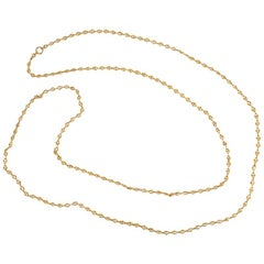 French Antique Gold Reeded Link Long Guard Chain