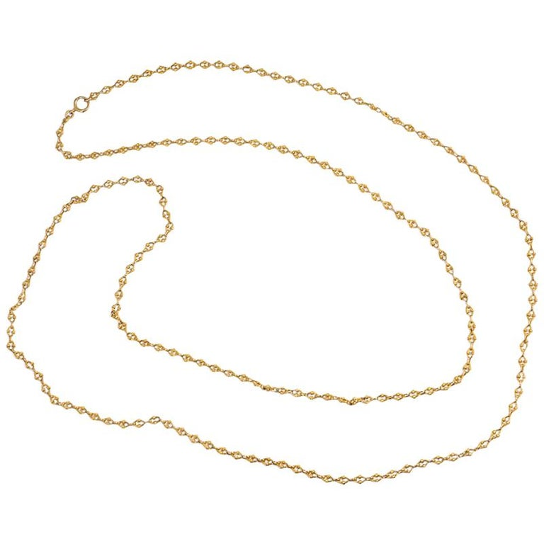 French Antique Gold Reeded Link Long Guard Chain For Sale