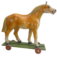 French Antique Horse Toy on Wheels with Wood Base