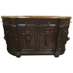 French Antique Hunt Cabinet, circa 1870 in Walnut and Marble Top