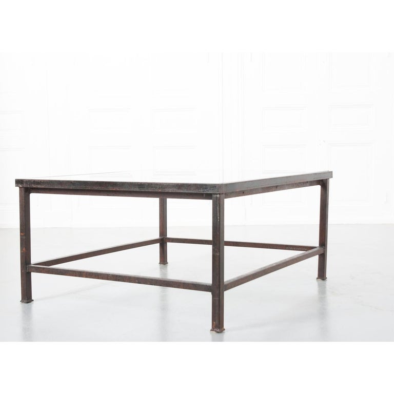 French Antique Iron Architectural Fragment and Glass Coffee Table For Sale 5