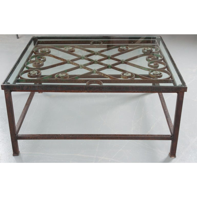 Other French Antique Iron Architectural Fragment and Glass Coffee Table For Sale