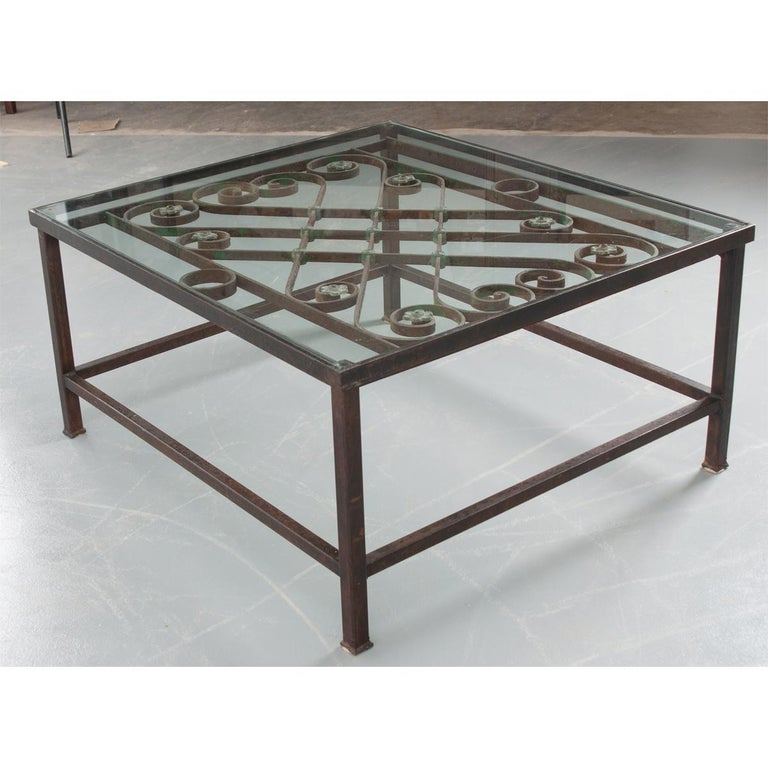 French Antique Iron Architectural Fragment and Glass Coffee Table In Good Condition For Sale In Baton Rouge, LA