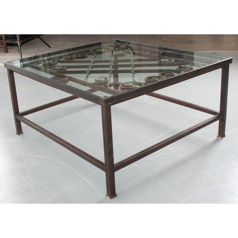 20th Century French Antique Iron Architectural Fragment and Glass Coffee Table For Sale