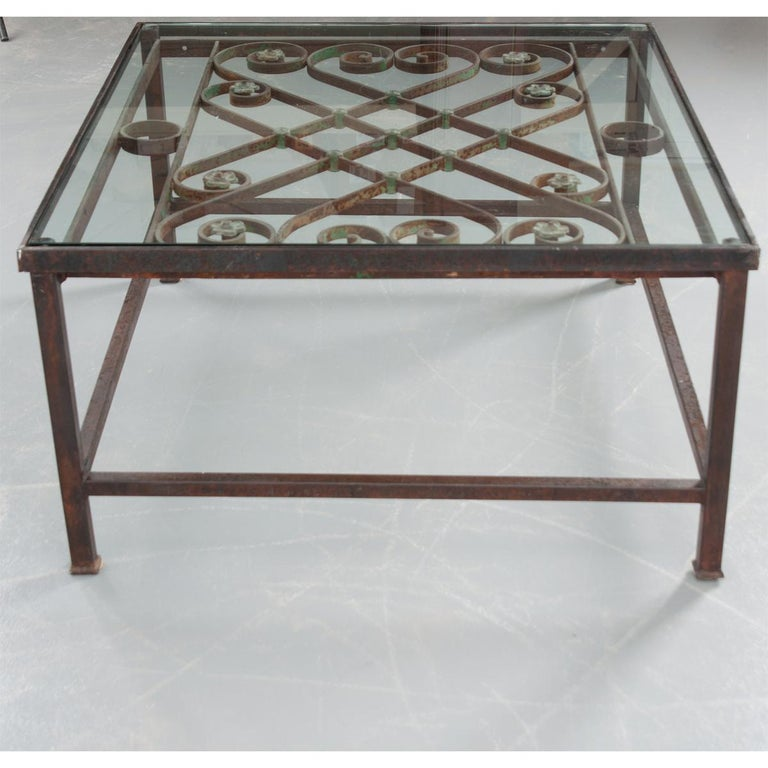 French Antique Iron Architectural Fragment and Glass Coffee Table For Sale 1