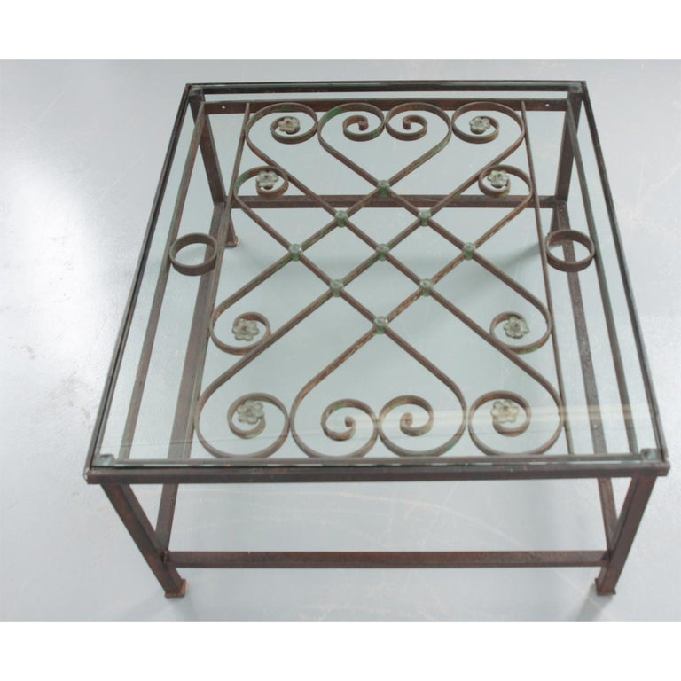 French Antique Iron Architectural Fragment and Glass Coffee Table For Sale 2