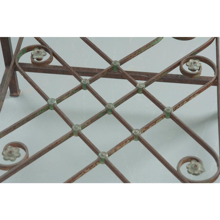 French Antique Iron Architectural Fragment and Glass Coffee Table For Sale 3