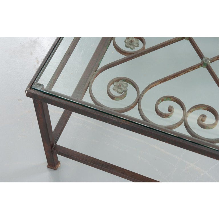 French Antique Iron Architectural Fragment and Glass Coffee Table For Sale 4