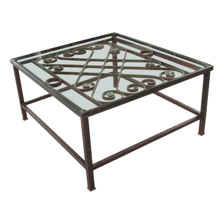 French Antique Iron Architectural Fragment and Glass Coffee Table For Sale