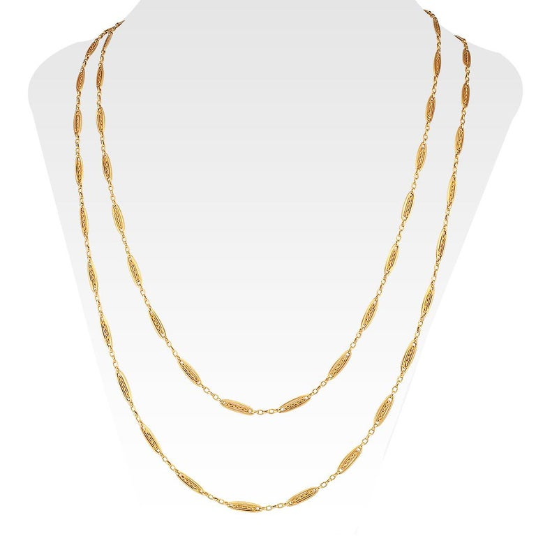 Art Nouveau French Antique Long Gold Chain Necklace For Sale
