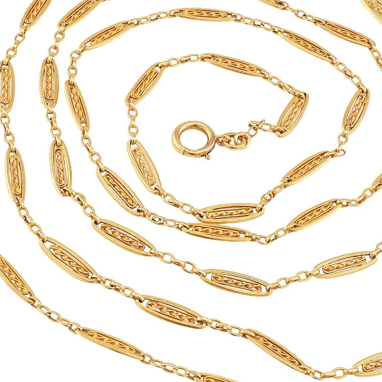 Women's French Antique Long Gold Chain Necklace For Sale