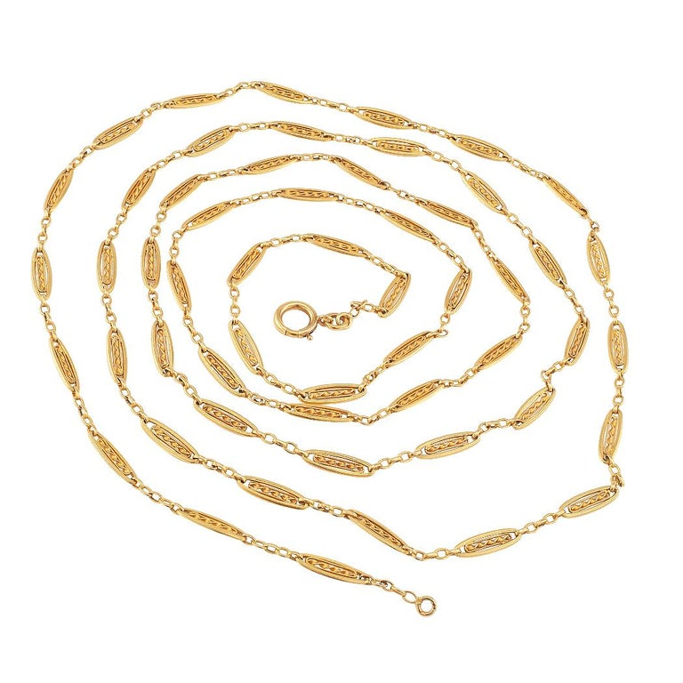 French Antique Long Gold Chain Necklace For Sale