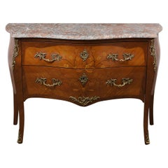 French Antique Louis XV Marquetry Commode