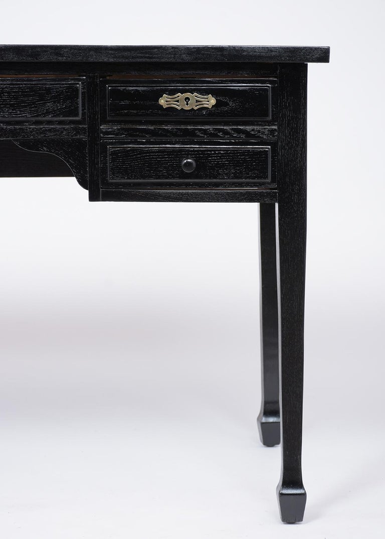 Hand-Carved French Antique Louis XVI Ebonized Desk For Sale