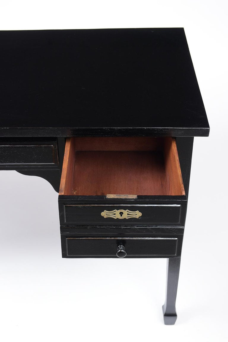 Brass French Antique Louis XVI Ebonized Desk For Sale