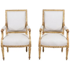 French Antique Louis XVI Giltwood Armchairs