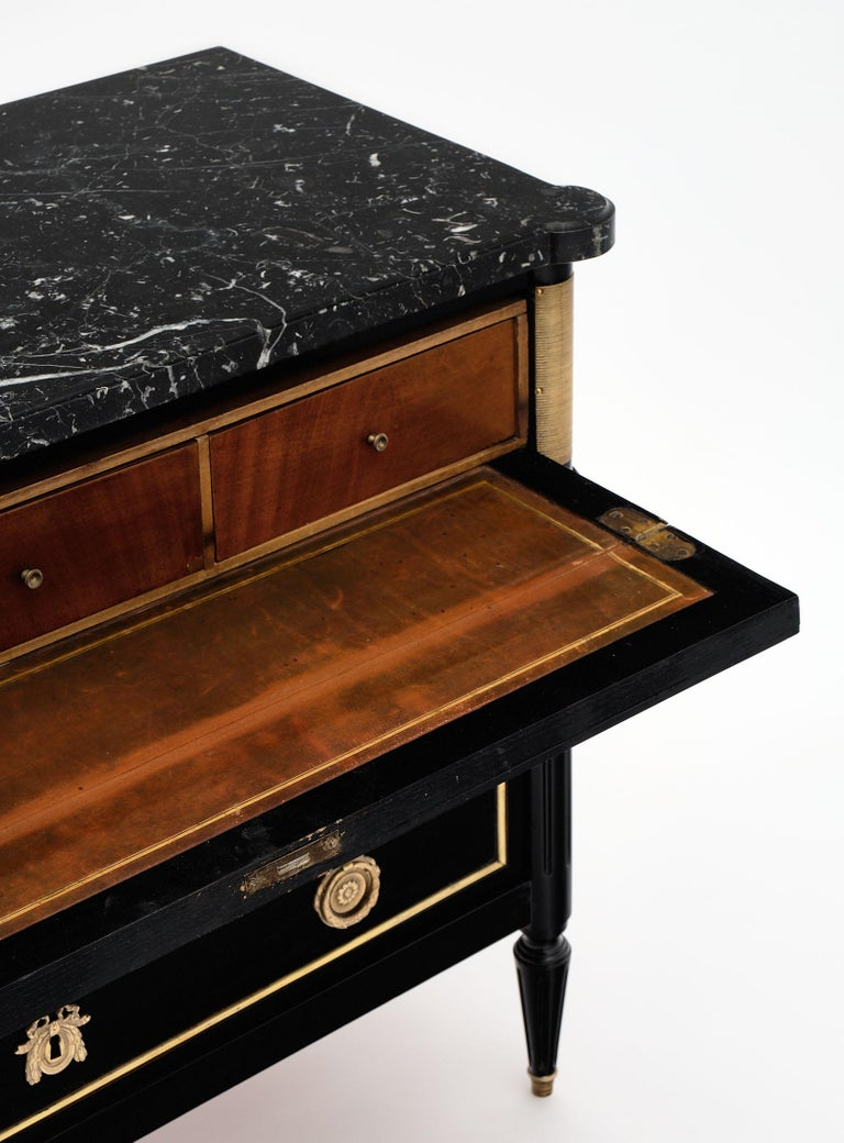 Brass French Antique Louis XVI Style Chest/Secretary For Sale
