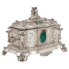 French Antique Malachite and Silvered Bronze Casket