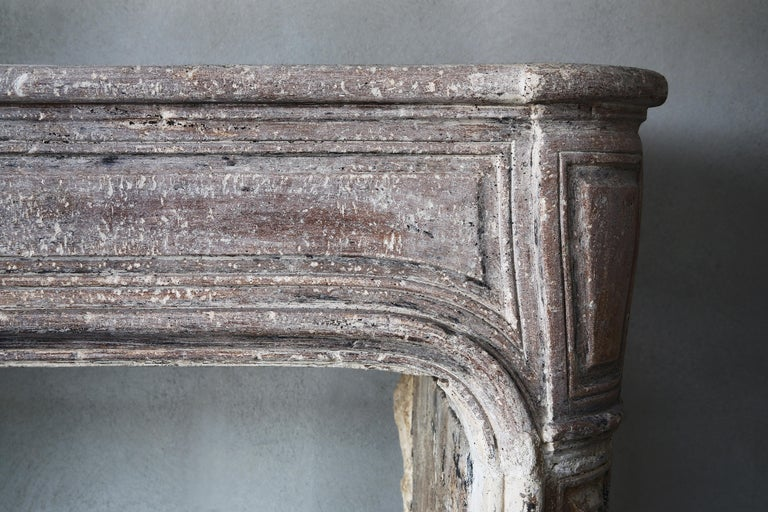 French Antique Mantelpiece of Limestone, 19th Century, Louis XIV In Good Condition For Sale In Made, NL