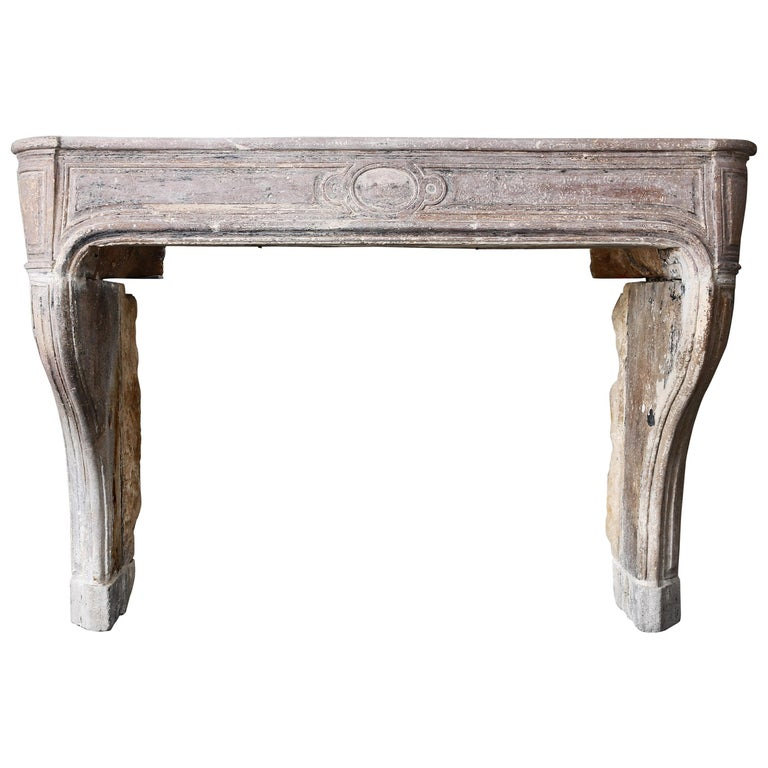 French Antique Mantelpiece of Limestone, 19th Century, Louis XIV For Sale