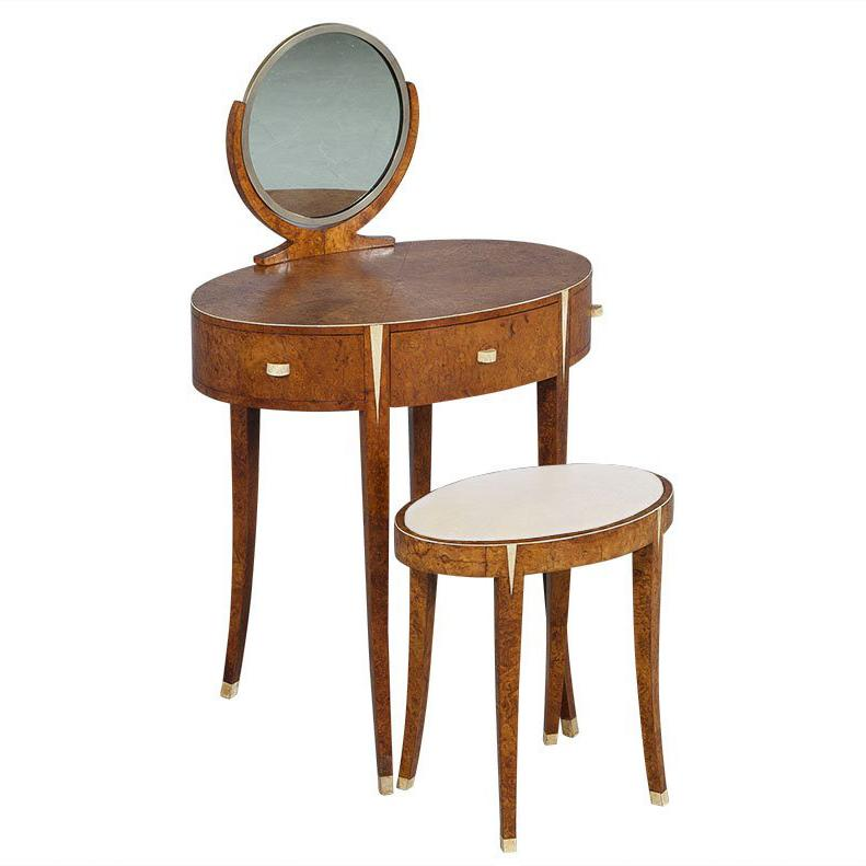 French Antique Mapa Burlwood Art Deco Vanity With Stool For Sale