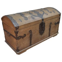 French Antique Metal and Elmwood Trunk, circa 1850