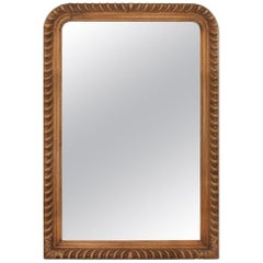 French Antique Mirror, Carved Oak Wood, 19th Century