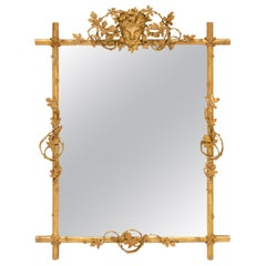 French Antique Mirror with Bacchus Fronton