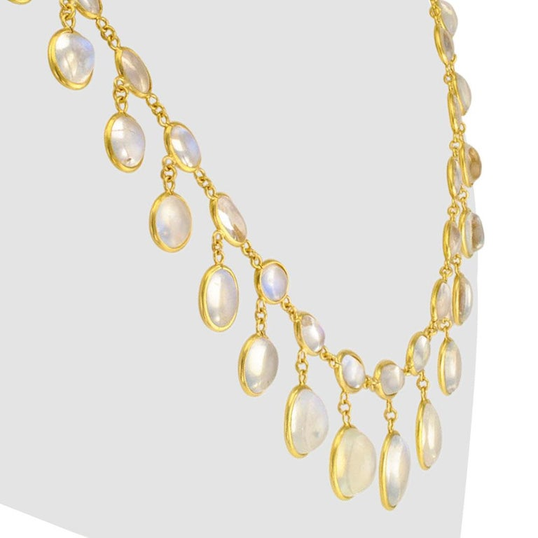 French Antique Moonstone Gold Necklace, circa 1900 For Sale 1