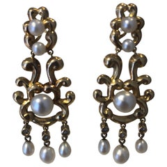 French Antique Natural Saltwater Pearl and Diamond Drop Earrings in Yellow Gold