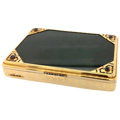 French Antique Nephrite Sapphire Enameled Box in 18 Karat Yellow Gold circa 1920
