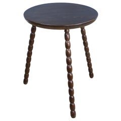 French Antique Oak Bobbin Leg Cricket Table