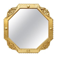 French Antique Octagonal Giltwood Mirror, circa 1940