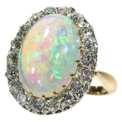 French Antique Opal & 1.71 Carat Old European Diamond Gold Combined Ring Pendant