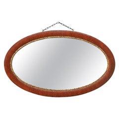 French Antique Oval Mirror, circa 1930