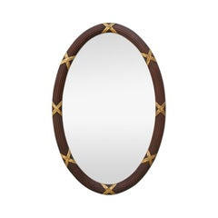 French Antique Oval Mirror, circa 1950