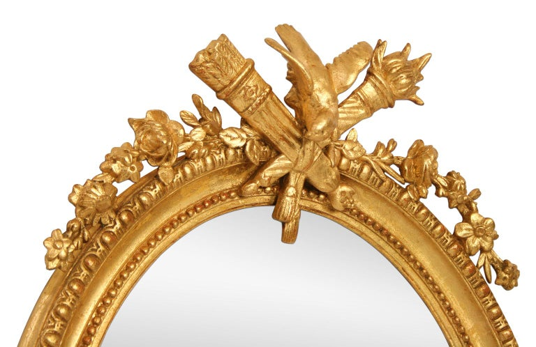 French Antique Oval Mirror, Giltwood, 19th Century In Good Condition For Sale In Paris, FR