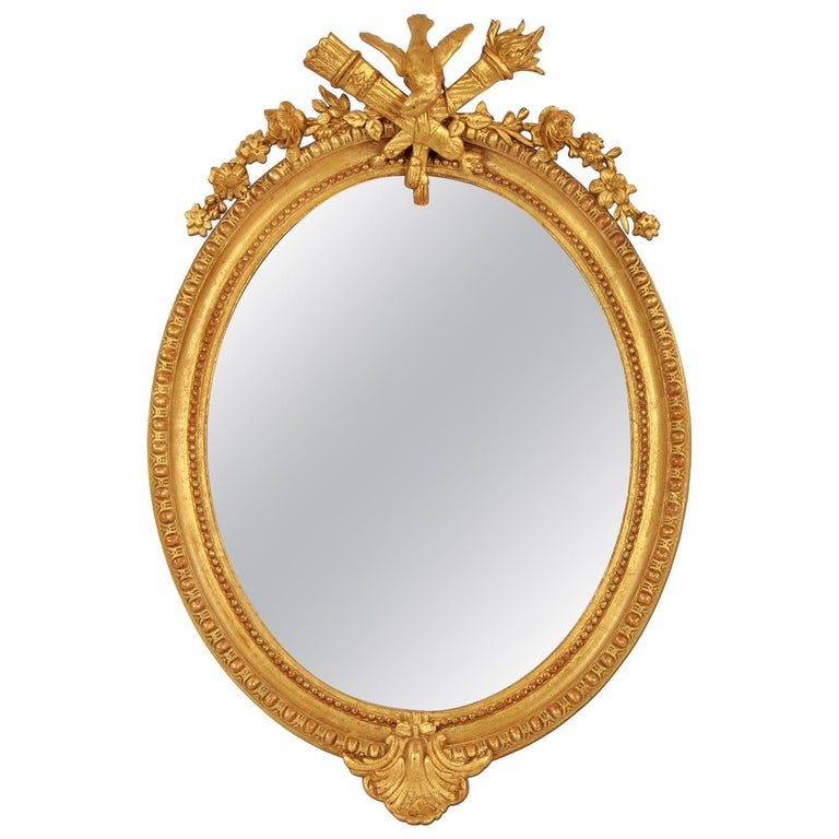 French Antique Oval Mirror, Giltwood, 19th Century For Sale