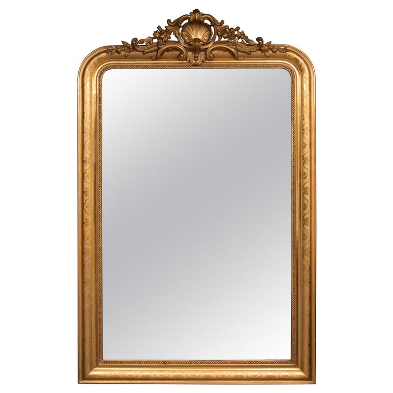 French Antique Overmantle Gilded Mirror At 1stdibs