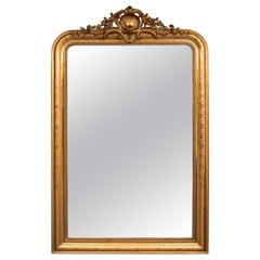 French Antique Overmantle Gilded Mirror
