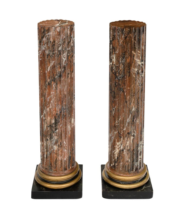 "French antique painted columns with a beautiful marbleized paint technique. The diameter of the column is 9.5""."