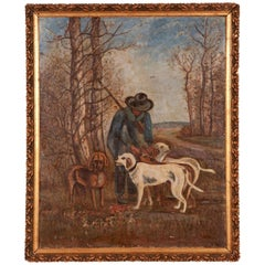 French Antique Painting of a Hunter with His Dogs