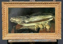 ANTIQUE FRENCH SIGNED OIL - NATURE MORTE FISH & MUSHROOMS KITCHEN TABLE - FRAMED