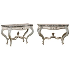 French Antique Pair of Shapely Carved and Painted Consoles with Faux Marble Tops