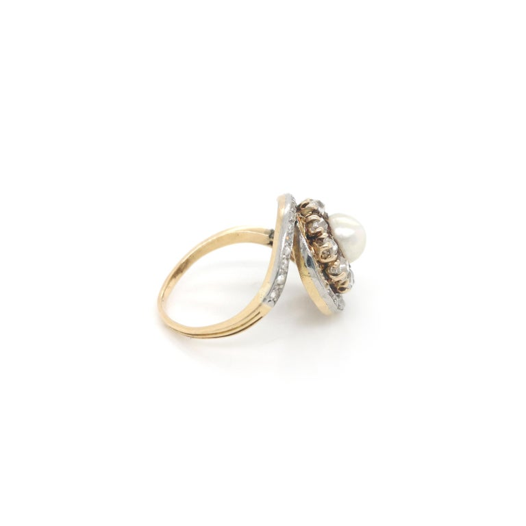 Edwardian French Antique Pearl and Diamond Ring For Sale
