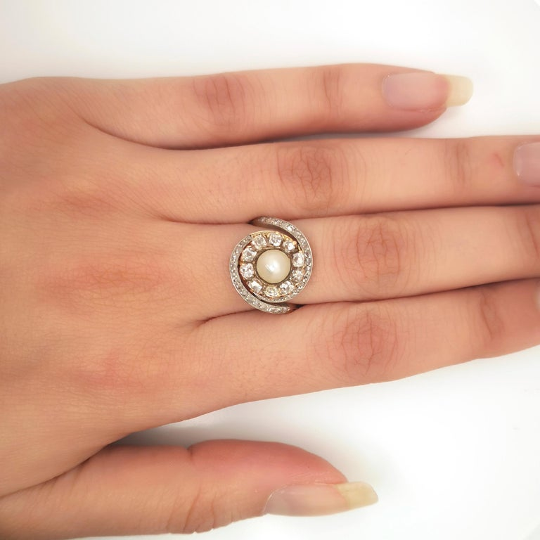 Women's or Men's French Antique Pearl and Diamond Ring For Sale