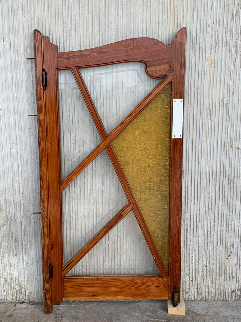 Art Nouveau French Antique Pine and Stained Glass Swinging Pub or Saloon Doors For Sale