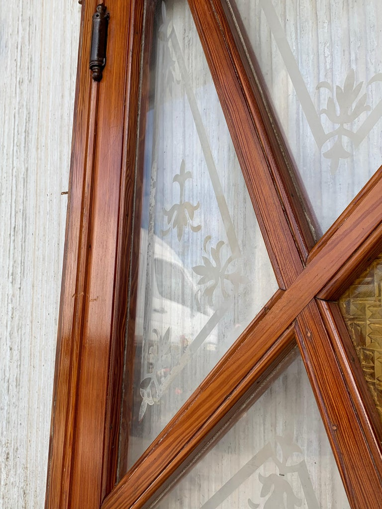 French Antique Pine and Stained Glass Swinging Pub or Saloon Doors For Sale 2