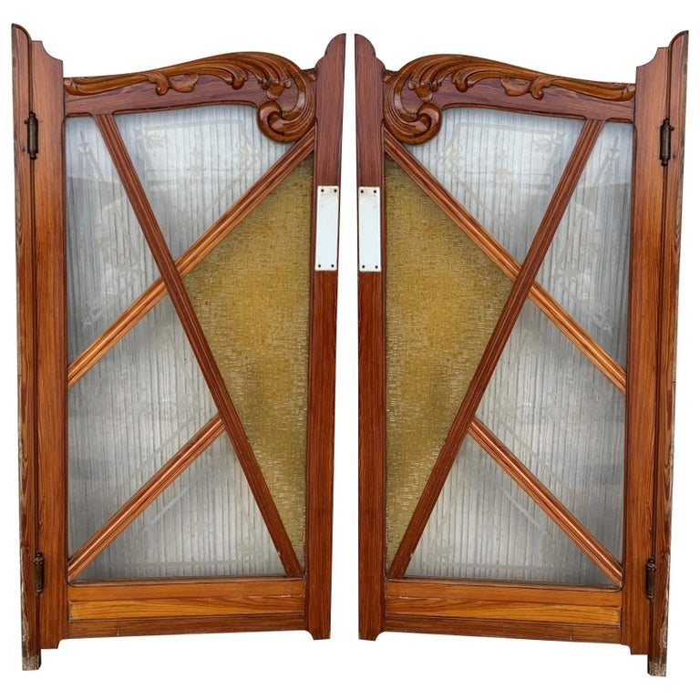 French Antique Pine and Stained Glass Swinging Pub or Saloon Doors For Sale