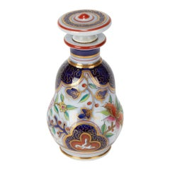 French Antique Porcelain Imari Design Scent Bottle, 19th Century